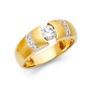 10mm 14k Yellow Gold Men Wedding Band Ring